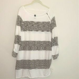 gnw Sweater White Brown Color Block Ruching